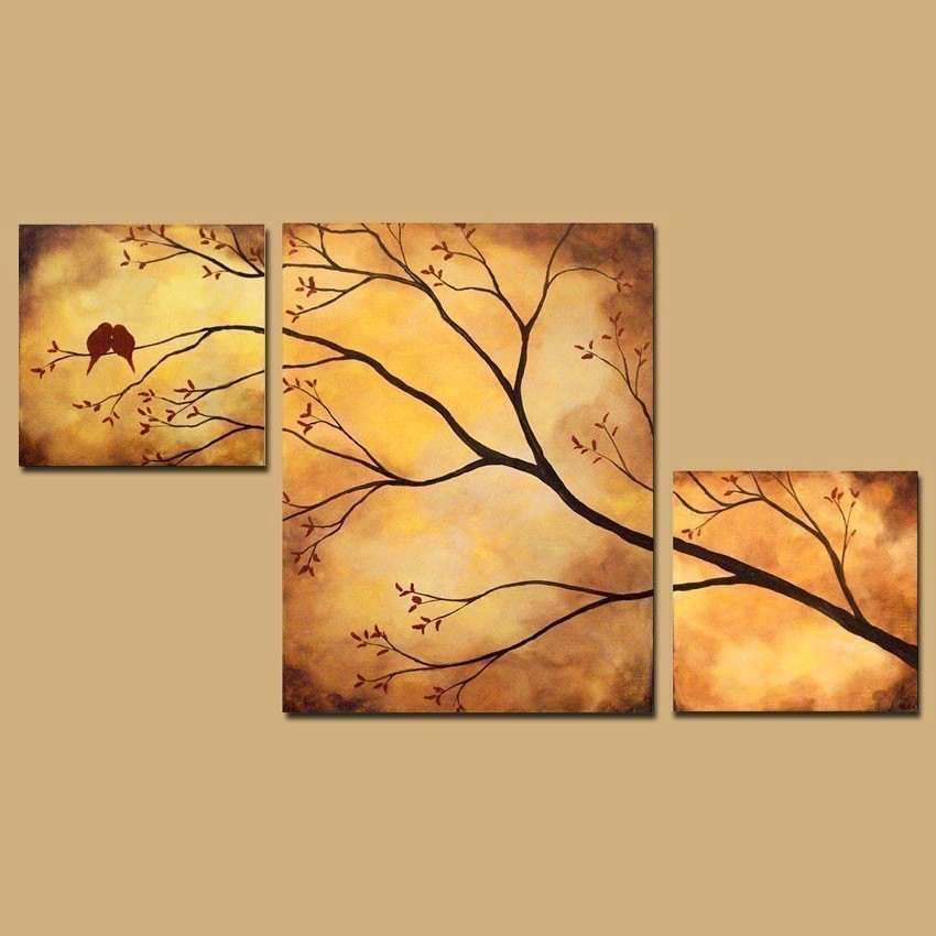 Abstract Triptych Painting Birds in Tree Branch Painting 42