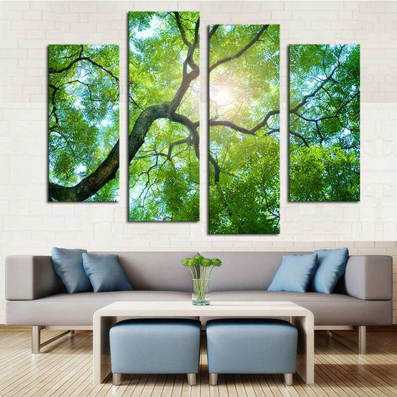 4 Panels Set Lush green Trees HD Canvas Painting Artwork