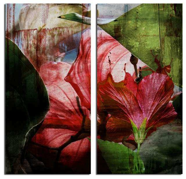 """Hibiscus"" Canvas Wall Art 2 Piece Set Tropical"