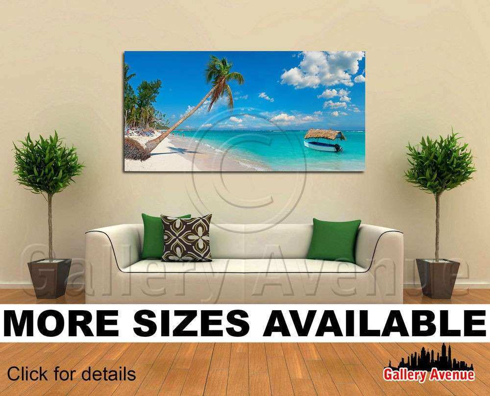 Wall Art Canvas Picture Print Tropical Beach Boat Palm