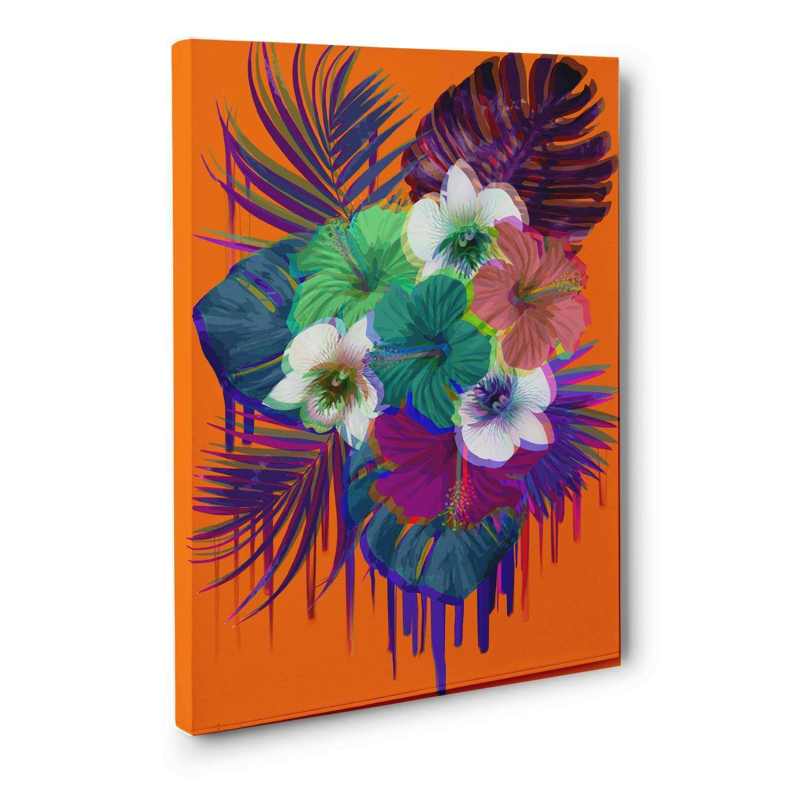 Neon Tropical Flowers Bright Orange CANVAS Wall Art Home