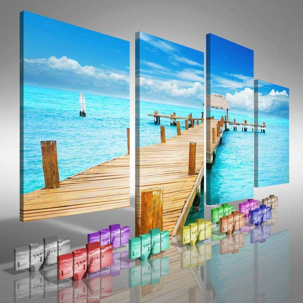 Tropical Jetty Seascape fset Canvas Print Picture