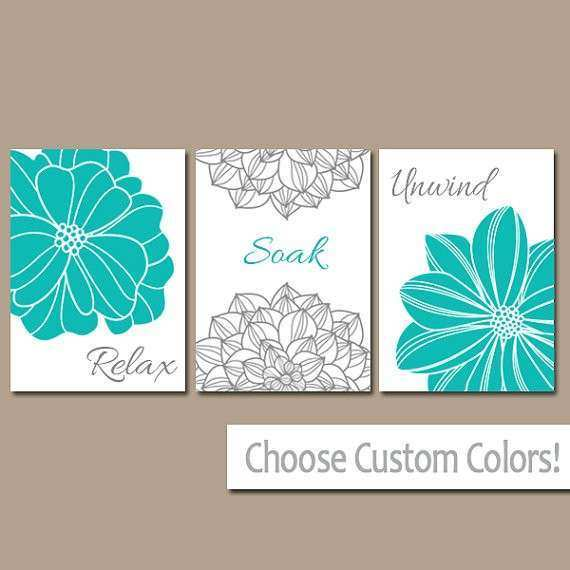 Turquoise BATHROOM WALL Art CANVAS or Prints Teal Gray