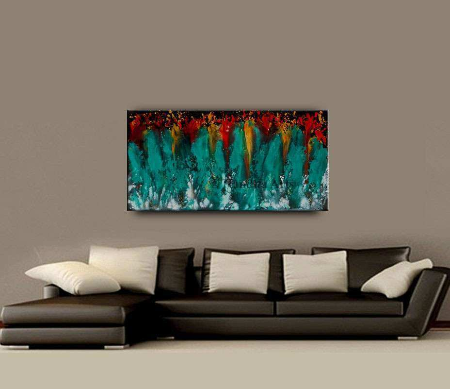 Wall ART Original Abstract Painting ON Canvas Turquoise