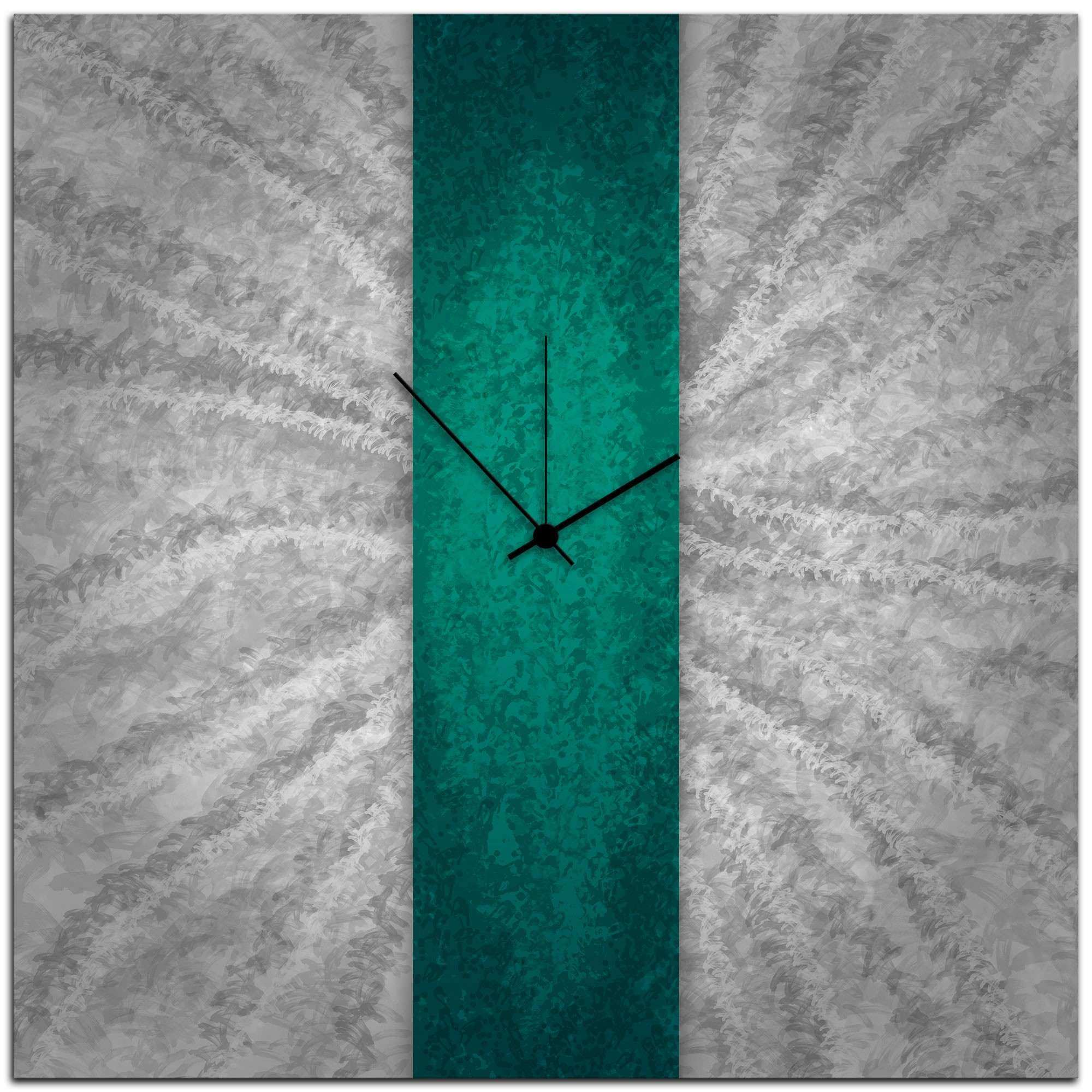 Turquoise Wall Decor Unique Metal Workings For Sale Teal Stripe Clock