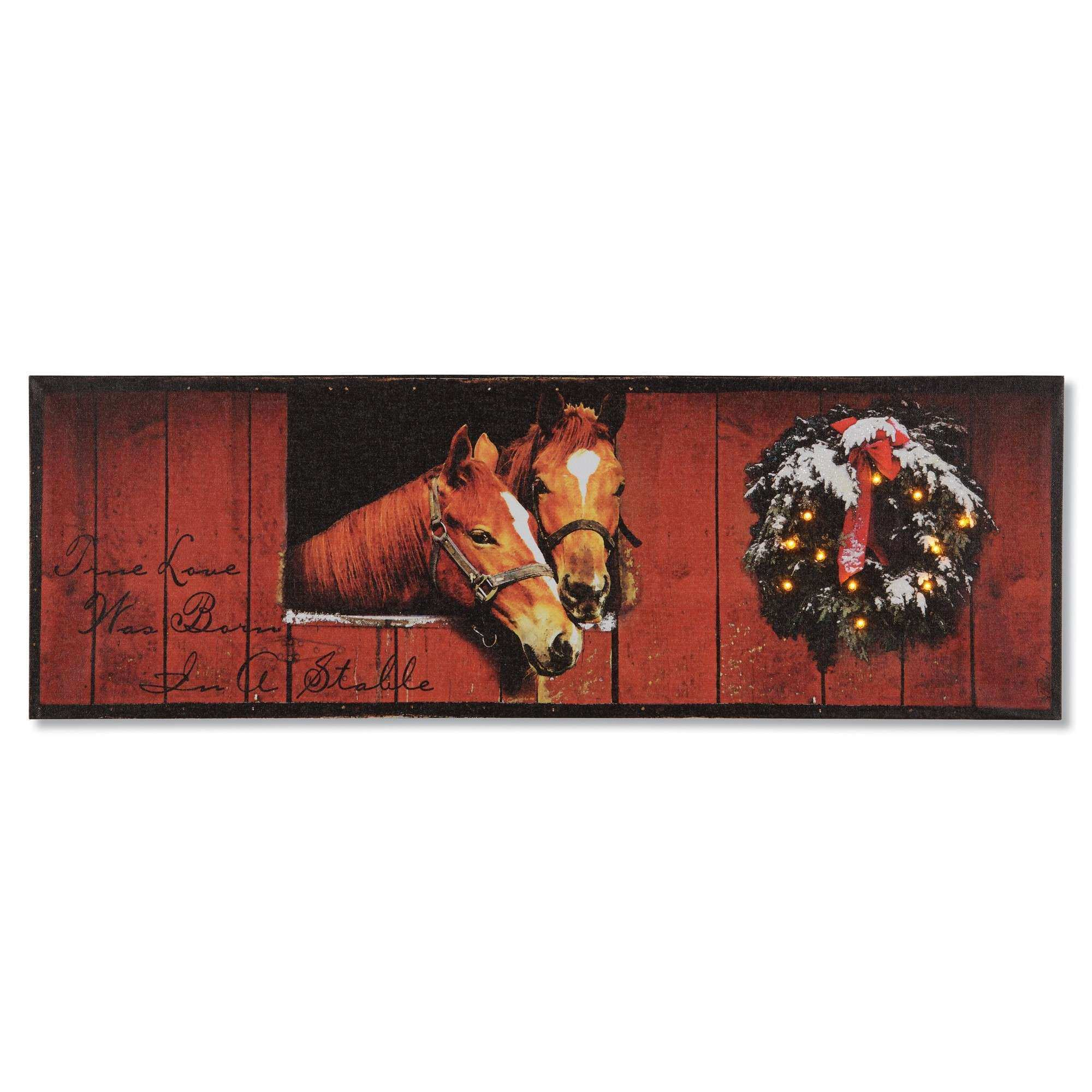Holiday Stable Lighted Wall Canvas