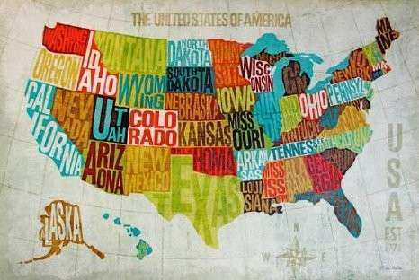 Us Map Wall Art Elegant United States Map Decor Modern United States ...