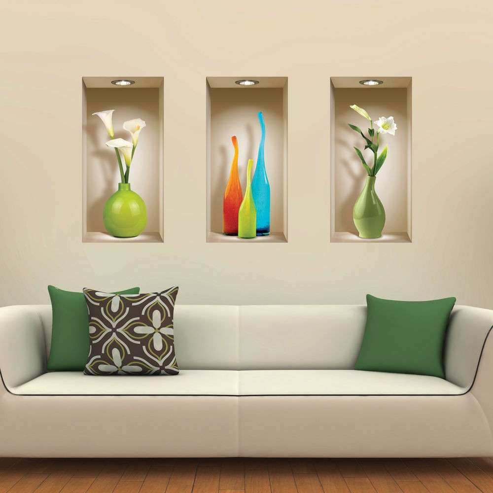 SET 3 ART WALL STICKER 3D DECALS PICTURE REMOVABLE HOME