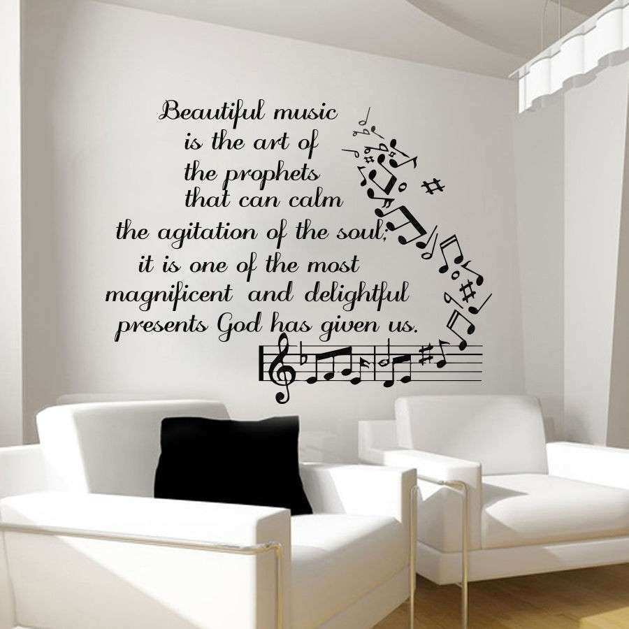 Music Wall Decals Vinyl Notes Decal Butterfly Sticker