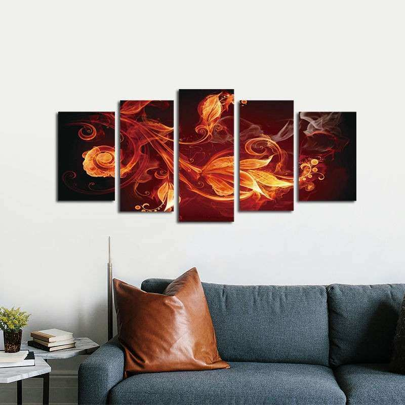 Framed Abstract Red Canvas Print Home Decor Wall Art