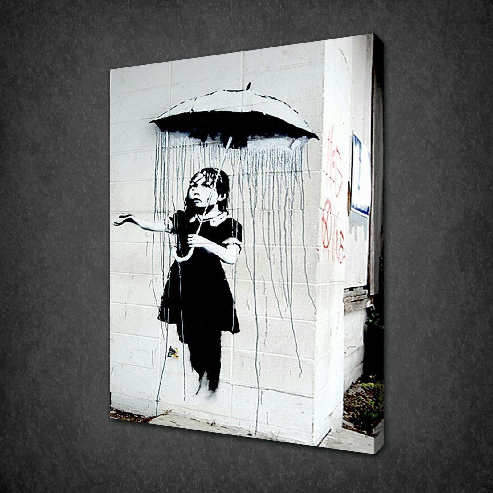 BANKSY UMBRELLA GIRL CANVAS WALL ART PICTURES PRINTS