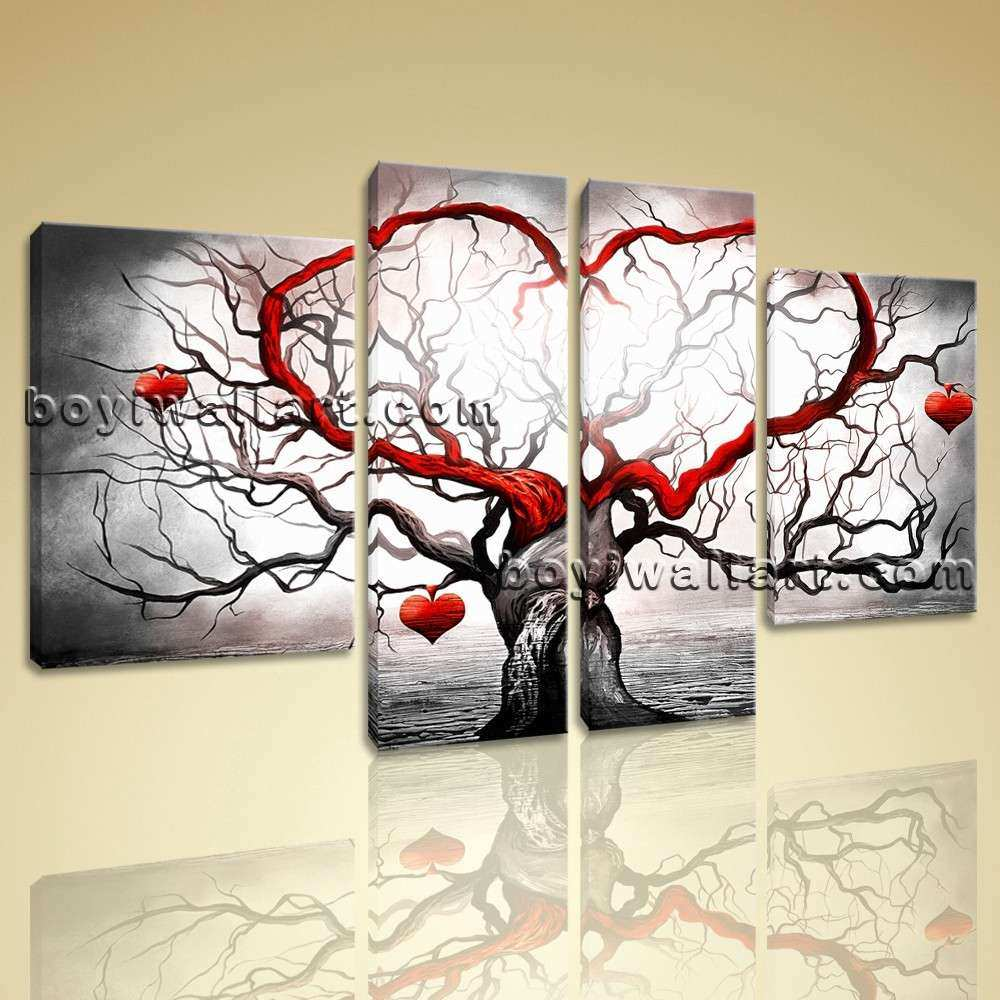 Huge Canvas Giclee Print Modern Abstract Love Tree 5