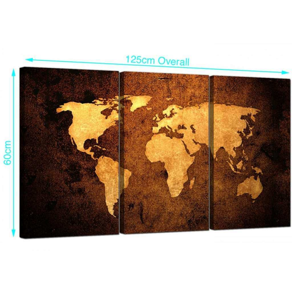 World Map Canvas Wall Art Awesome Vintage World Map Canvas Wall Art Set Of 3 for Your Bedroom