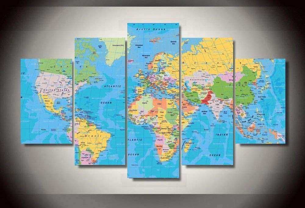 Wall Painting Blue World Map Library Home Decor Art