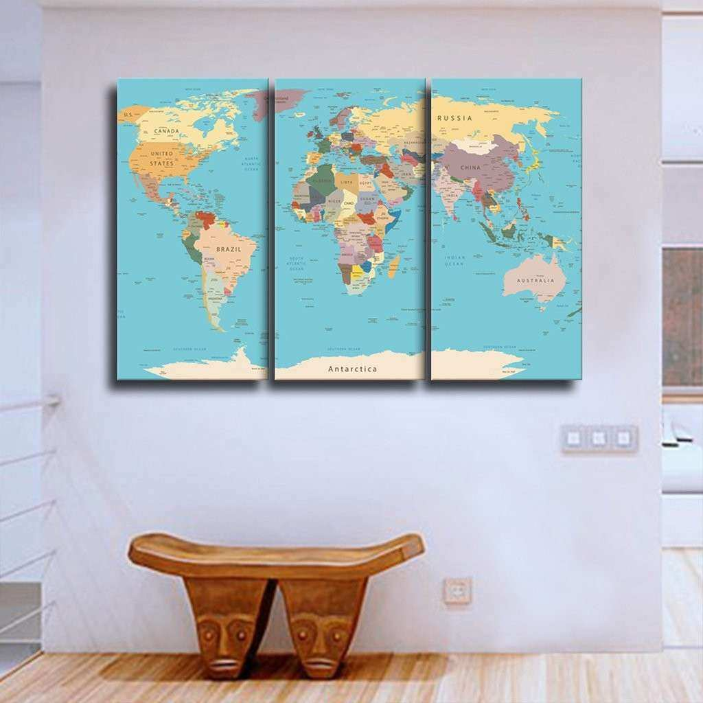 Detailed World Map Multi Panel Canvas Wall Art