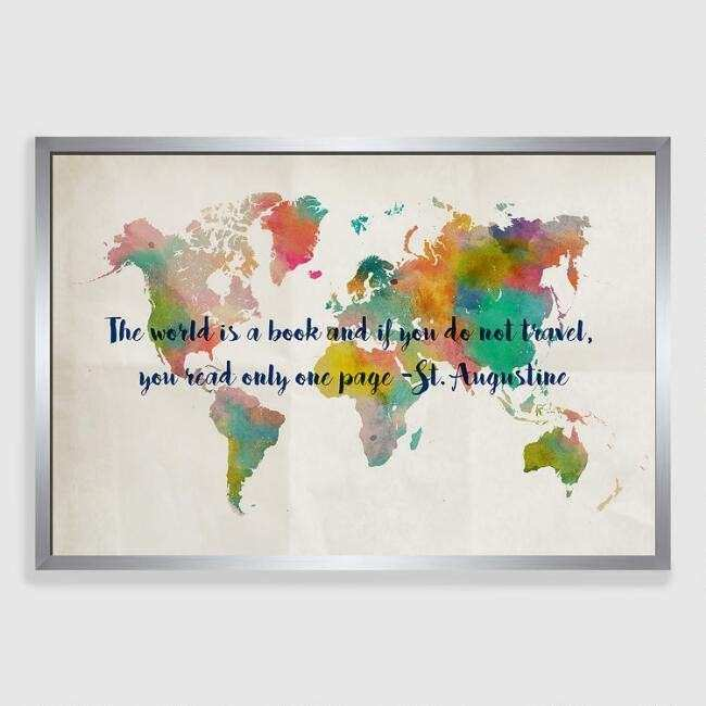 Travel Map Framed Canvas Print