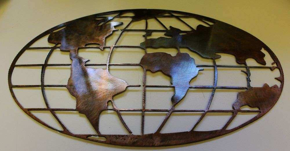 """Metal Art World Map 32"""" wide copper and bronze plated"""