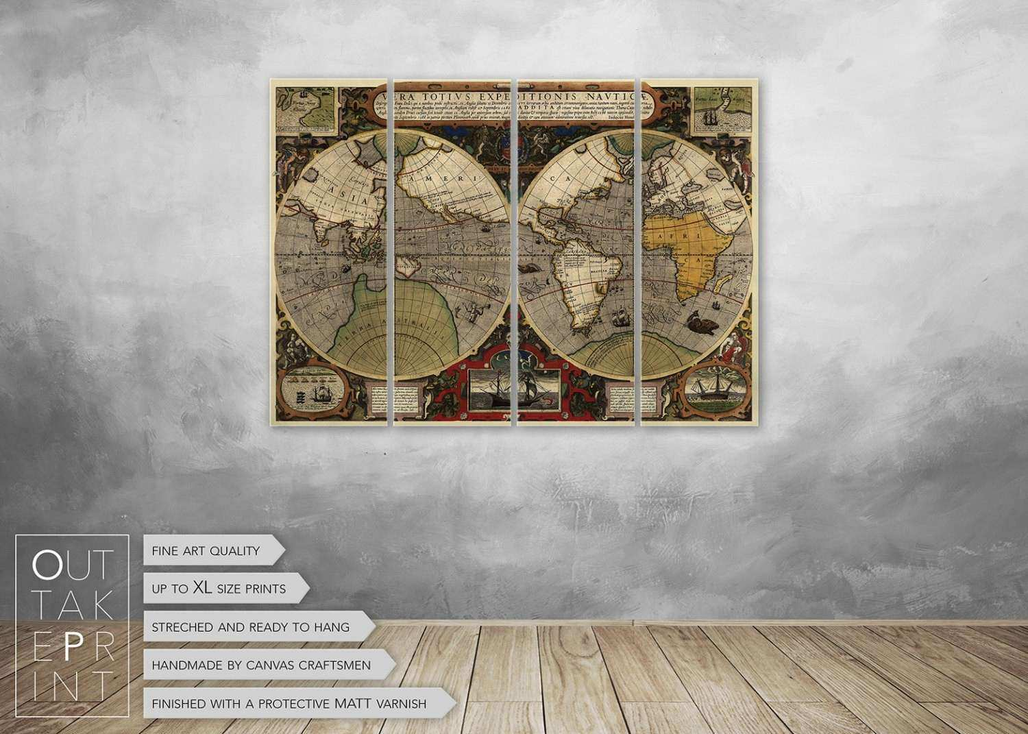 Vintage world map canvas wall decor ready to hang