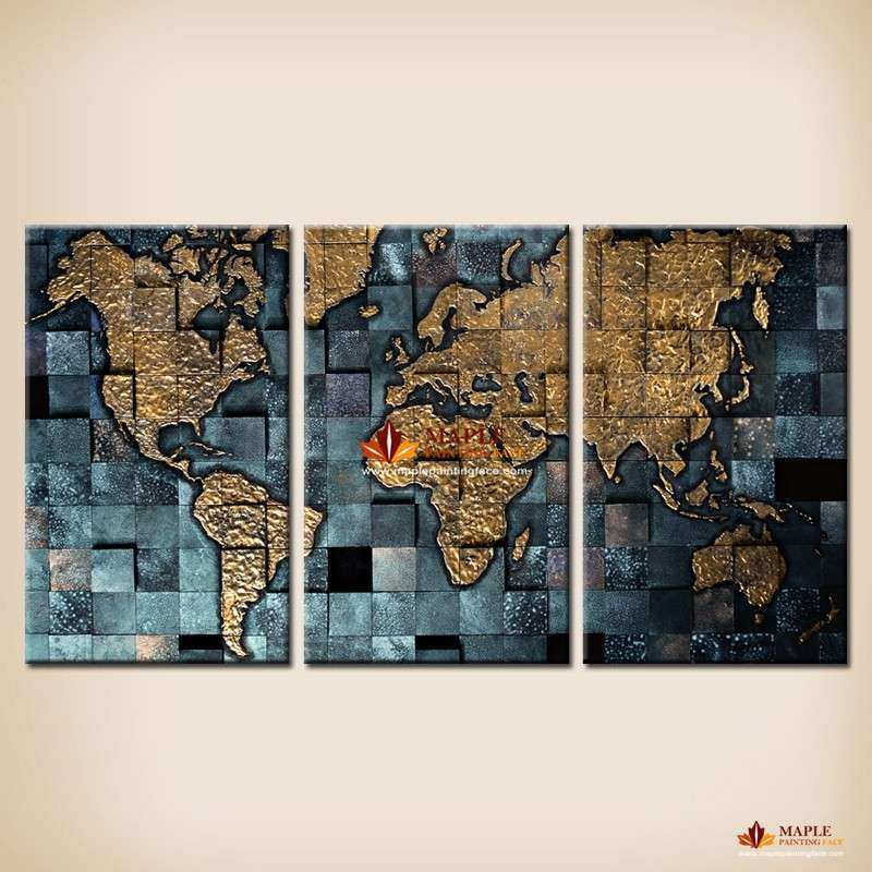 Modern wall art The Abstract World Map Painting Canvas