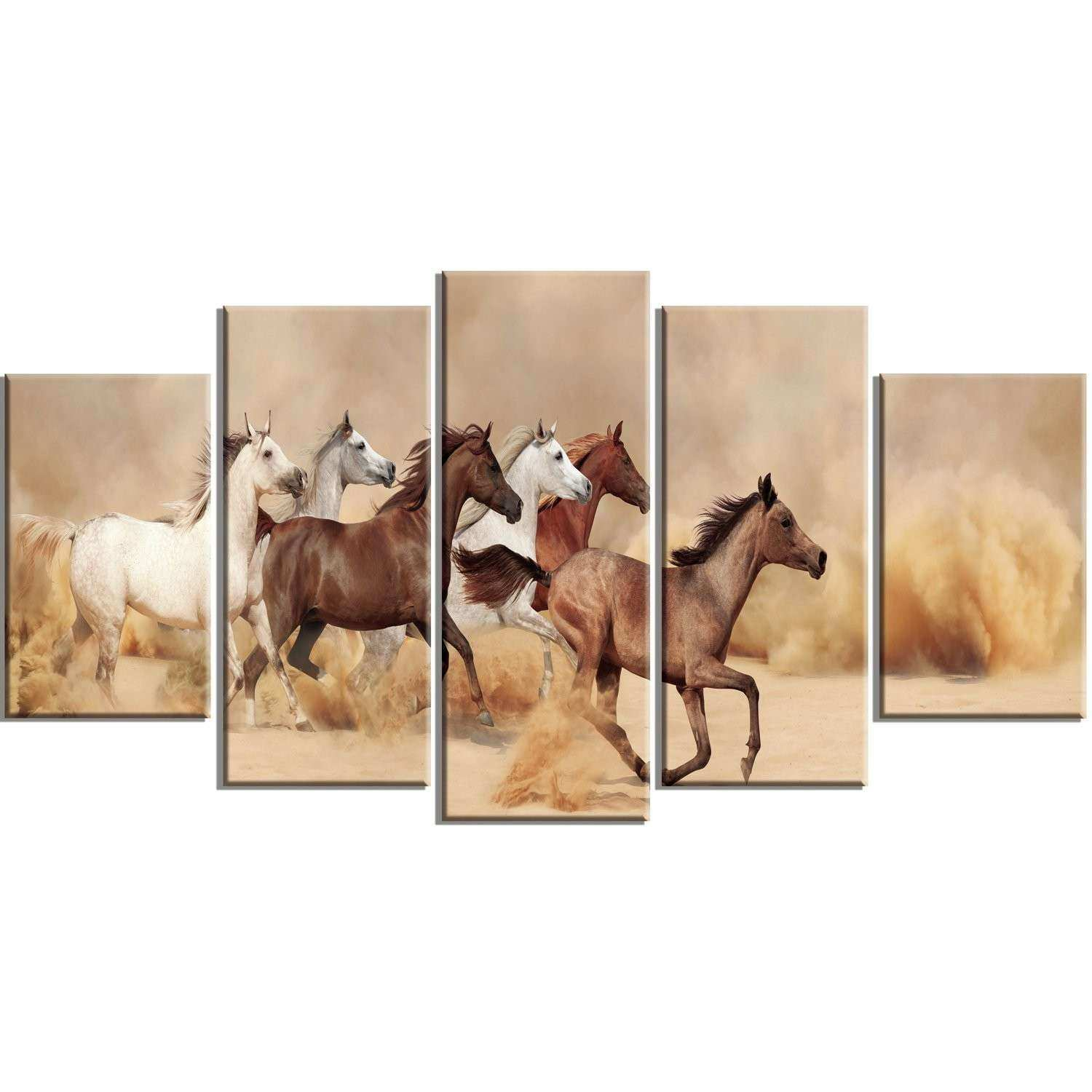 DesignArt Herd Gallops in Sand Storm 5 Piece Wall Art on