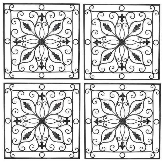 """Lucina Tuscan 24"""" Square Indoor Outdoor Wrought Iron Wall"""