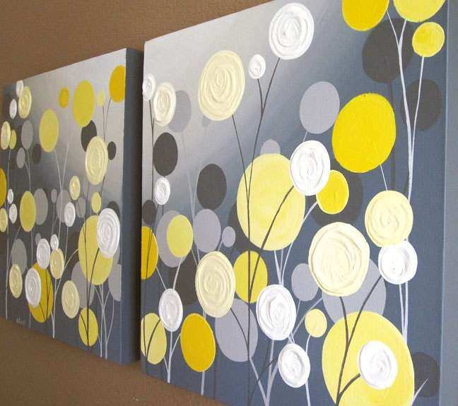 Wall Art Textured Yellow and Grey Abstract Flower Garden two