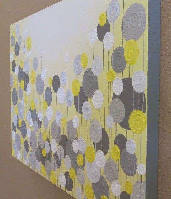 Yellow and Grey Textured Painting Abstract Flowers