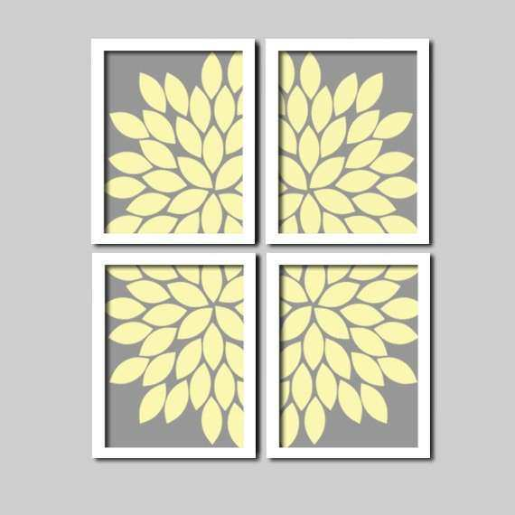 Grey Yellow Wall Art CANVAS or Prints Charcoal Cream by