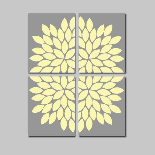 YELLOW Gray Wall Art CANVAS or Prints Flower Bedroom