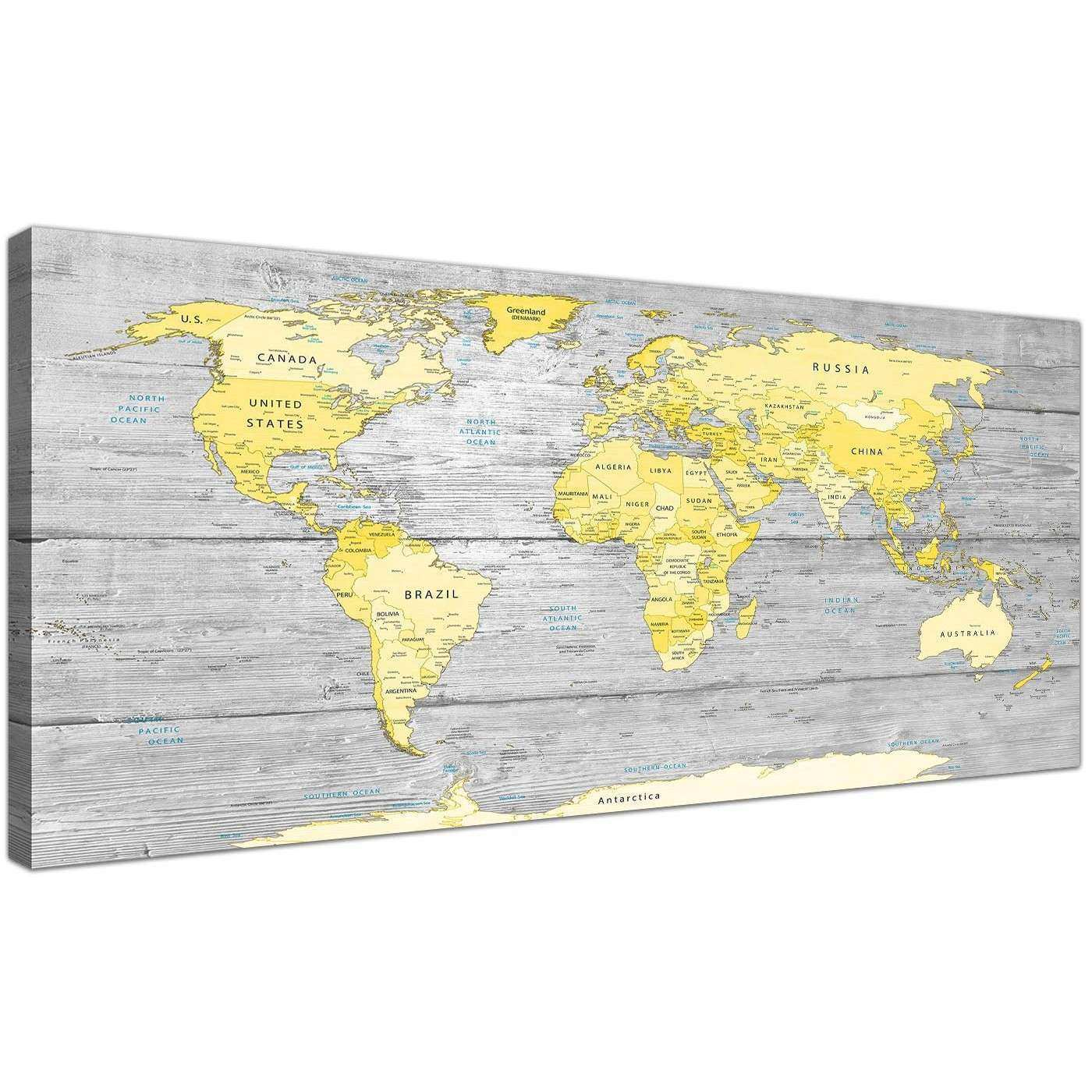 Yellow Canvas Wall Art Fresh Yellow Grey Map Of World atlas Canvas ...