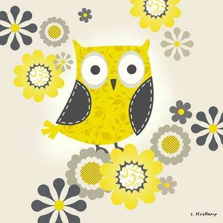 Yellow and Grey Owl Canvas Wall Art by Oopsy Daisy