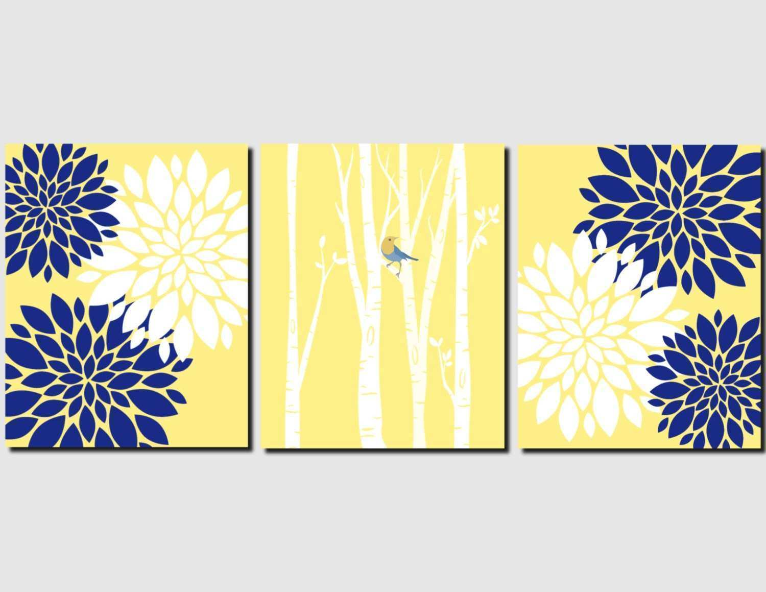 Yellow Wall Art Awesome Navy Yellow White Wall Art Bedroom Wall Art ...