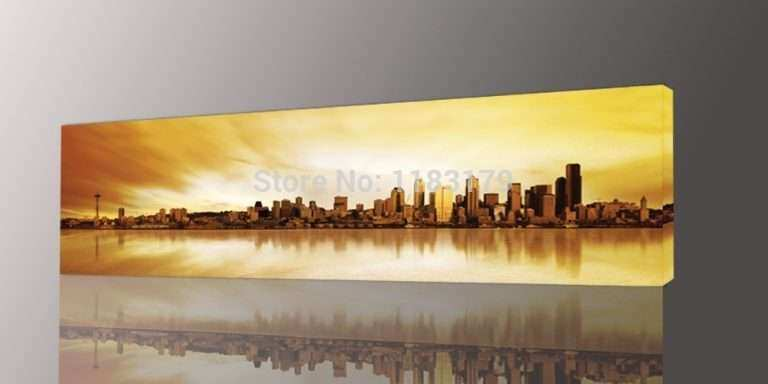 Yellow Wall Art Lovely Long Yellow City Painting Canvas Wall Art ...