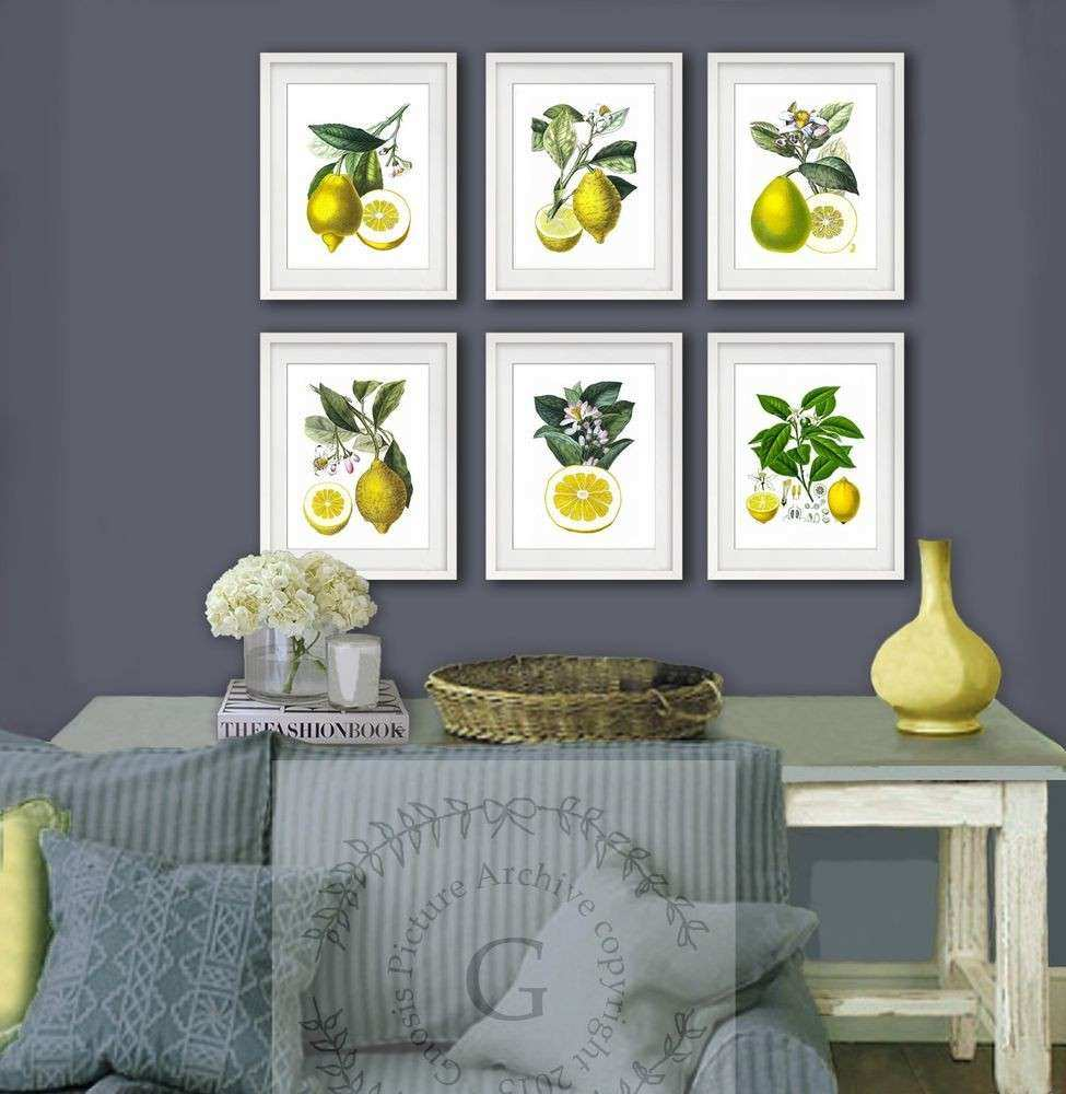 Yellow Wall Art Unique Lemons Art Print Set Of 6 Vintage Botanical Art