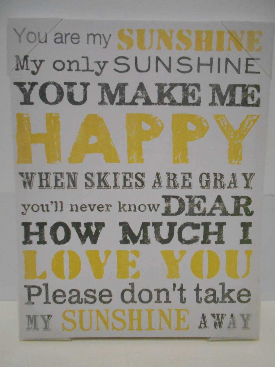 "NEW Canvas Wall Art You Are My Sunshine 15"" x 19"" Gray"