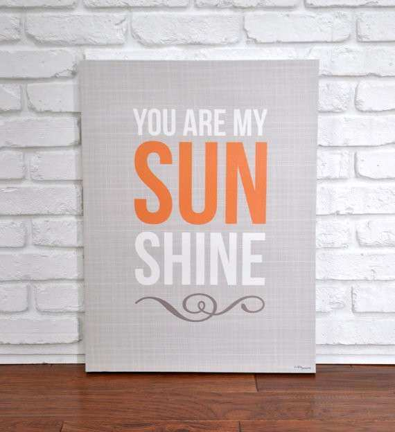 You Are My Sunshine Tan Canvas Wall Art by VickyBaroneDesigns