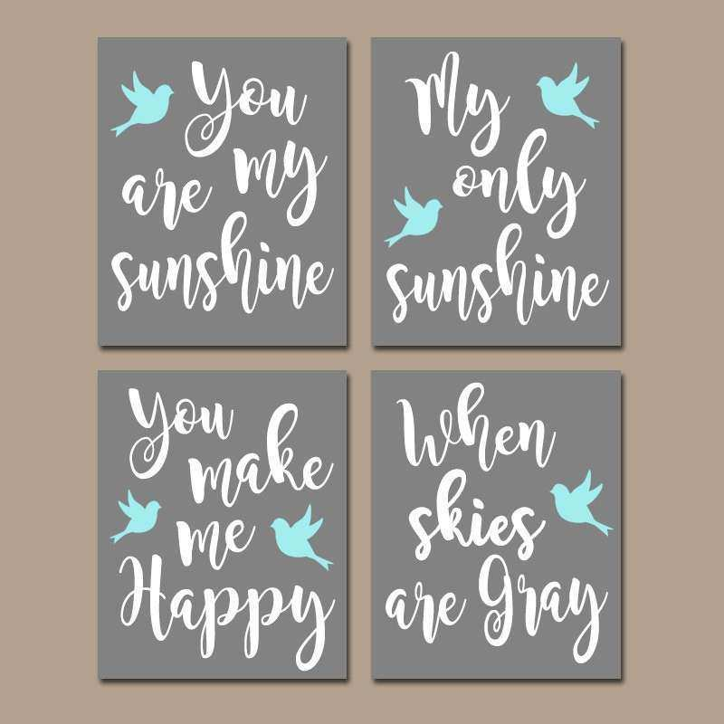 You Are My SUNSHINE Wall Art CANVAS or Prints Aqua Nursery
