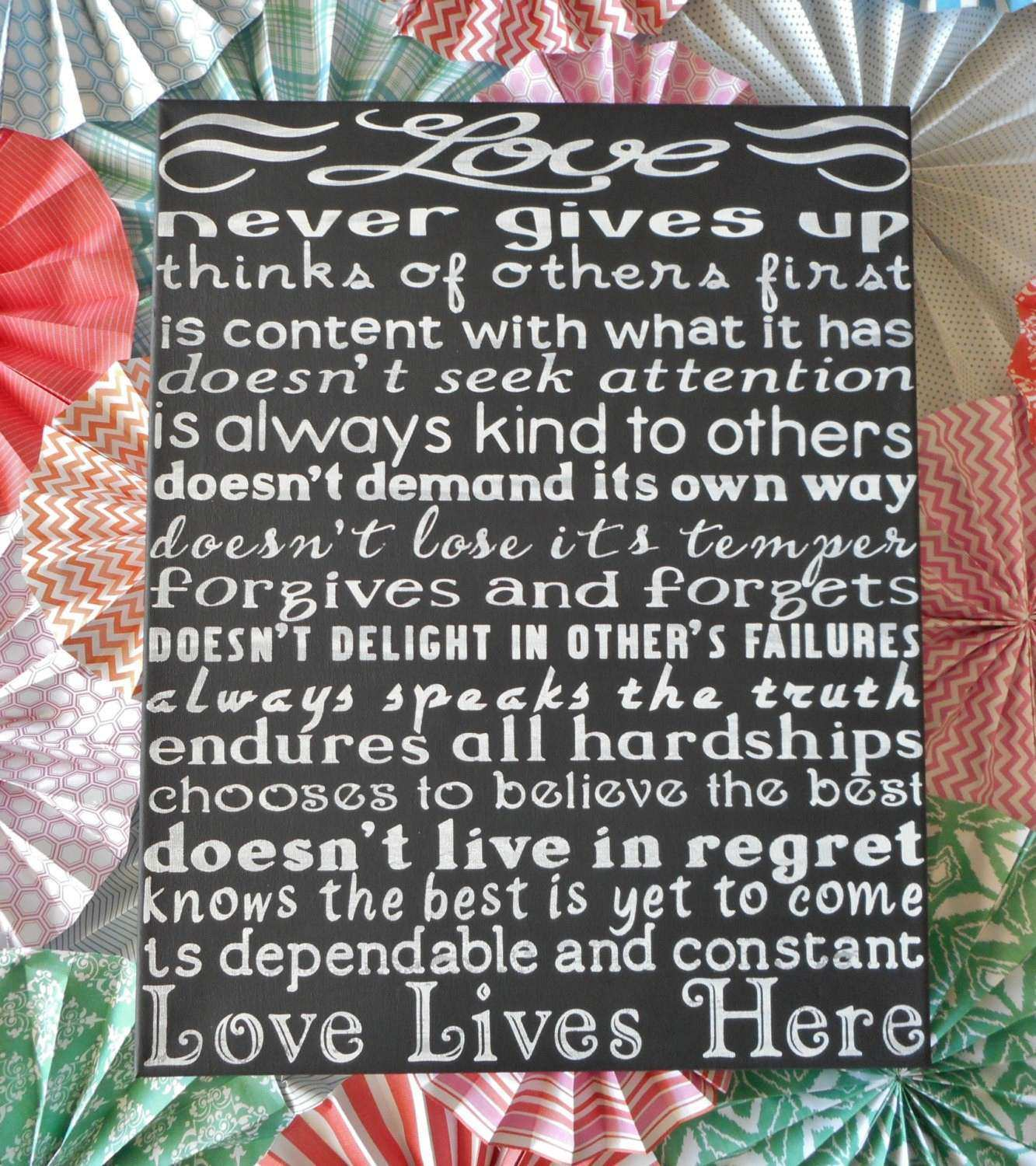 Love Lives Here 1 Corinthians 13 Distressed Wall Art