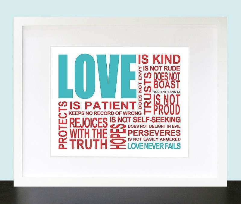 Love is 1 Corinthians 13 Wall Art by mateoandtobias on Etsy