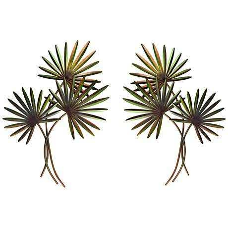 "Fan Palm 2 Piece 48"" High Metal Wall Art Set 7T133"