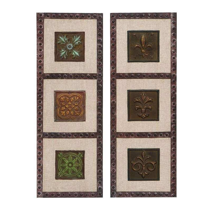 Cole & Grey 2 Piece Metal Burlap Wall Décor Set & Reviews