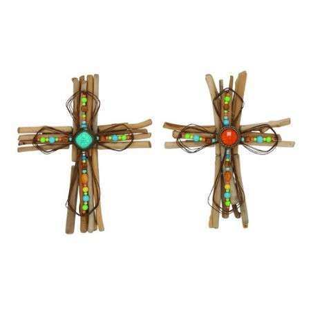 Woodland Imports 2 Piece Creative Wood Metal Cross Wall