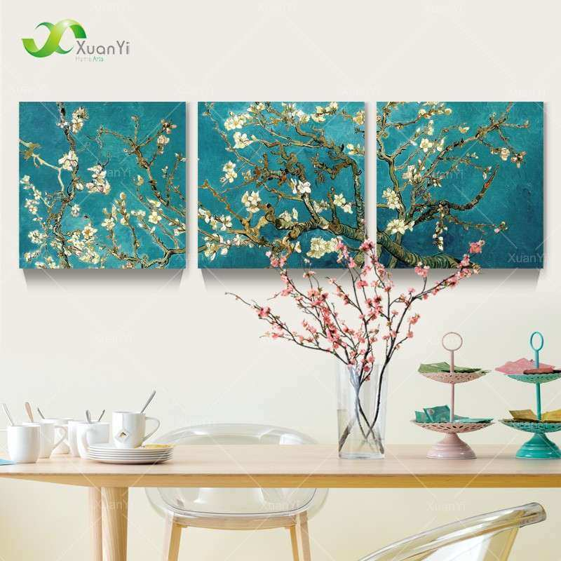 3 Panel Modern Printed Van Gogh Flower Tree Painting