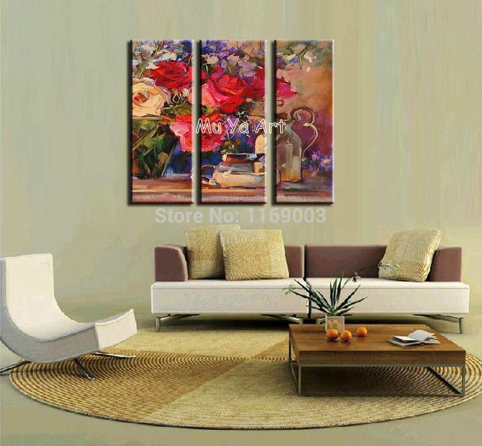 Abstract modern 3 panel canvas wall art deco red Rose