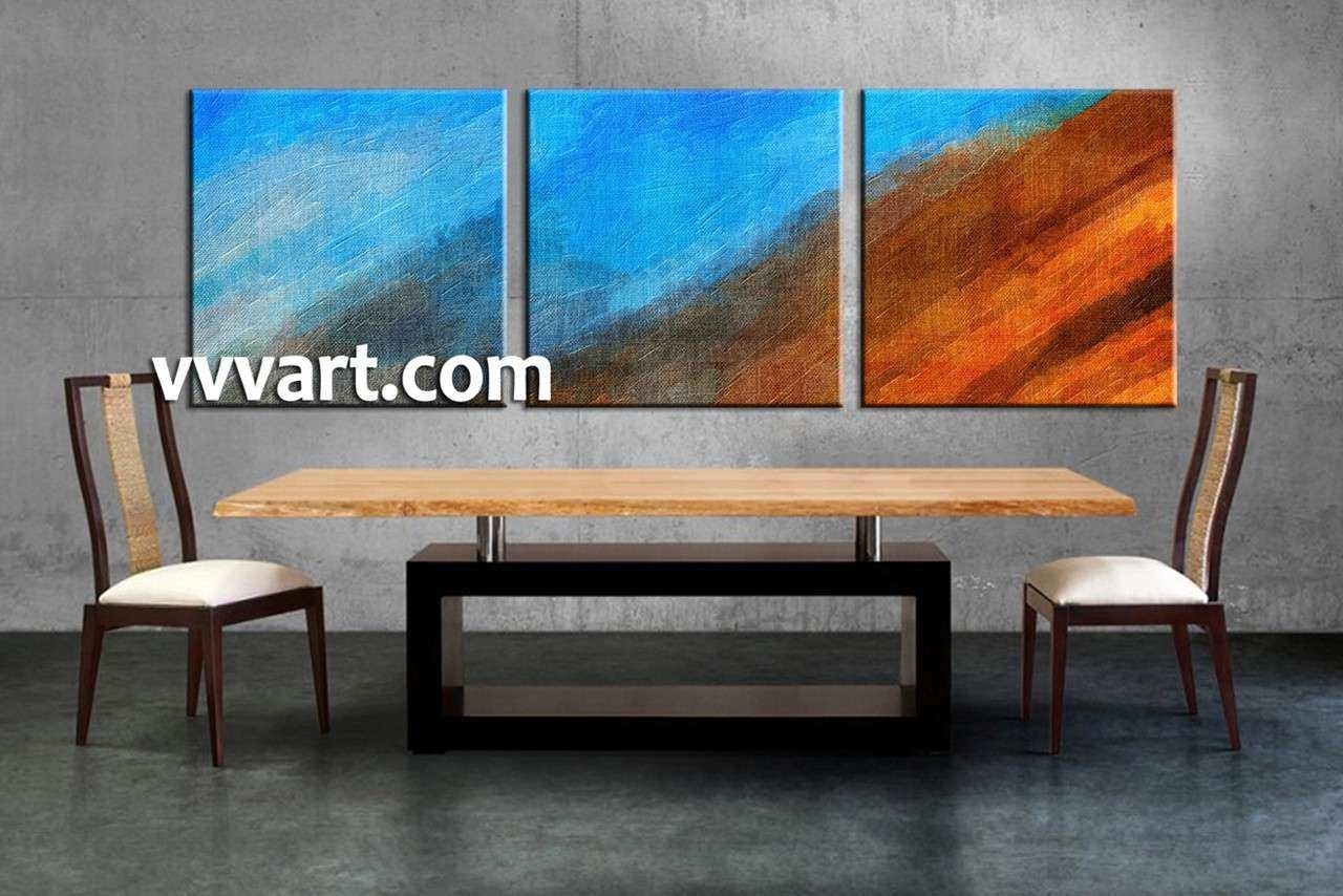 3 Piece Abstract Blue Oil Paintings Canvas Wall Art