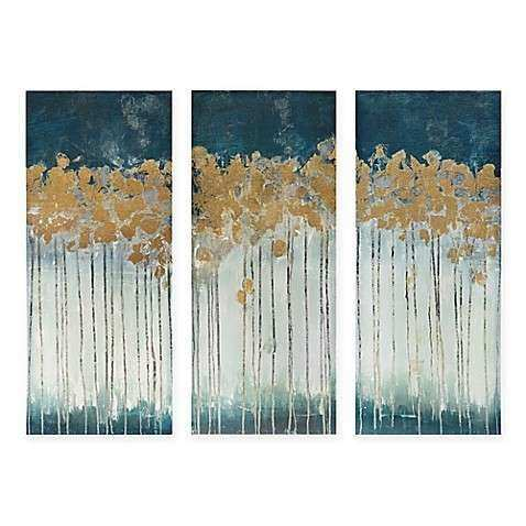 Madison Park Midnight Forest 3 Piece Canvas Wall Art Bed