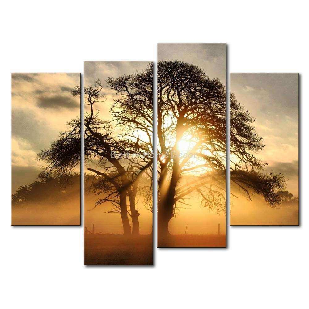 3 Piece Brown Wall Art Painting Misty Sunrise Behind The