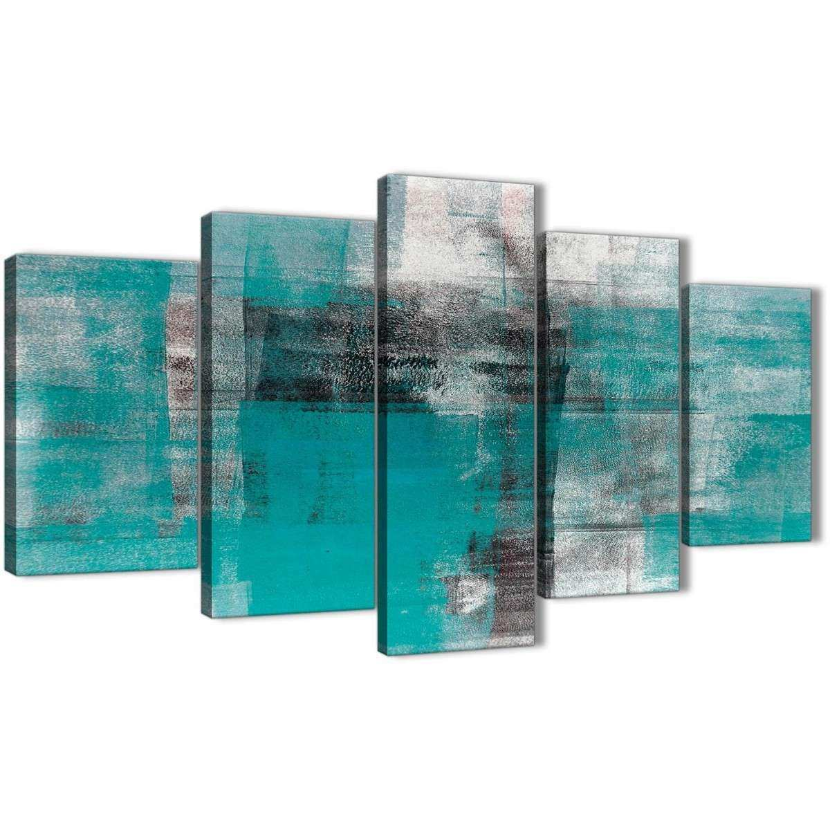 5 Part Teal Black White Painting Abstract fice Canvas