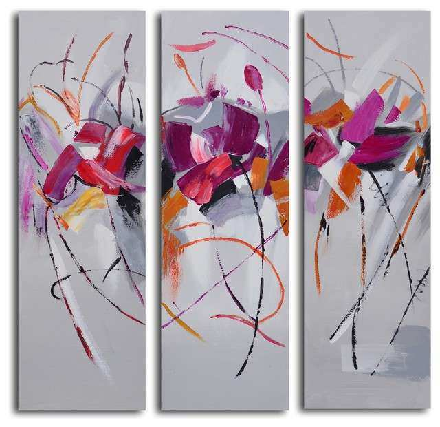 Fuschia frolicking flower triptych Hand Painted 3 Piece
