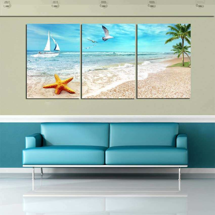3 Panel Beach Canvas Seascapes Palm Tree Paintings 3
